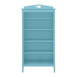Dory Bookshelf - The Dory Bookshelf offers generous shelving that keeps your home organized, clutter free and can become a wonderful display case for your most treasured belongings. Clean, open shelving can house books, art and baskets. Beadboard detail adds a coastal theme.