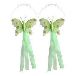 "Bugs-n-Blooms - Butterfly Tie Backs Green Jewel Nylon Butterflies Tieback Pair Set Decorations - Window Curtains Holder Holders Tie Backs to Decorate for a Baby Nursery Bedroom, Girls Room Wall Decor - 5""W x 4""H Jewel Curtain Tieback Set Butterfly 2pc Pair - Beautiful window curtains tie backs for kids room decor, baby decoration, childrens decorations. Ideal for Baby Nursery Kids Bedroom Girls Room.  This gorgeous butterfly tieback set is embellished with sequins and glitter.  This pretty butterfly decoration is made with a soft bendable wire frame & have color match trails of organza ribbons.  Has 2 adjustable wires to wrap around the curtains; or simply remove & add your own ribbon for a personal & custom look.  Visit our store for more great items. Additional styles are available in various colors, please see store for details. Please visit our store on 'How To Hang' for tips and suggestions. Please note: Sizes are approximate and are handmade and variances may occur. Price is for one pair (2 piece)"
