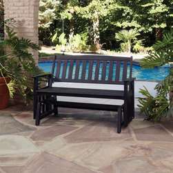 HomeStyles - Bali Hai Outdoor Glider Bench Washed Black Fi - Eco-friendly, plantation grown Shorea wood. Contoured seat. traditional slat design. Stainless steel hardware. Dimensions: 54.25 in. W X  28 in. D X  35.75 in. HCreate an island oasis on your porch or patio with a Home Styles Bali Hai Outdoor Glider Bench.  Showcasing an island inspired design in a versatile washed black finish with rubbed aged look and construction of eco-friendly, plantation grown Shorea wood which is known for its exceptional durability and natural resistance to water, this bench is designed to provide endless hours of outdoor entertainment use.  Curved back and contoured seat provides excellent support and imparts a slightly modern touch to the overall traditional slat design.  Beautifully built with stainless steel hardware. Seat height measures 17.75 inches high. Size: 54.25w 28d 35.75h.