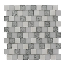 "GlassTileStore - Vestige Ice Mist Marble & Glass Tiles - VESTIGE ICE MIST TILE  This stunning combination of the white thassos with the frosted and polished silver painted foil glass will give any room a modern and contemporary ambience. Add a pop to any room with these beautiful tiles that are versatile; great to use for a backsplash for a kitchen or a fireplace     Chip Size: 1.18"" x 1.18""   Color: White, Super White, Silver   Material: White Thassos and Glass   Finish: Frosted and Polished    Sold by the Sheet - each sheet measures 12.5""x12.5"" (1.09sq. ft.)   Thickness: 8mm    - Glass Tile -"