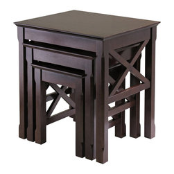 Winsome - Winsome Xola Nesting Table Set in Cappuccino Finish - Winsome - Nesting Tables - 40333 - Wonderful addition to your room to display or use it as Accent or End Table.  X Cross on end panels add a special touch to this great set.