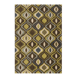 Surya - Monterey Coffee Bean / Dark Olive Green Area Rug - The Monterey collection offers contemporary and floral designs with softPolypropylene fibers. Hand tufted with a multi-dimensional construction, Monterey Coffee Bean, Dark Olive Green, Moss,Dark Slate Blue & Gray Area Rug by Surya has a raised pattern that provides an unique texture and appeal. The bright, vibrant colors are great for any modern styling living area.