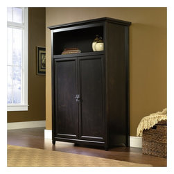 Sauder - Sauder Edge Water  Computer Armoire in Estate Black - Sauder - Computer Armoires - 412265 - Space-saving cabinet conceals monitor printer CPU speakers and more behind framed door panels