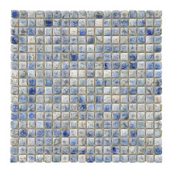 Somertile - SomerTile 12x12-in Samoan 9/16-in Neptune Blue Porcelain Mosaic Tile (Pack of 10 - Update your decor with these blue porcelain mosaic tiles. Available in a pack of 10,these contemporary wall tiles have a glazed finish that increases their aesthetic value. They are easy to install and ideal for indoor and outdoor use.