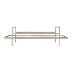 Arteriors - Charles Tray - This solid brass tray finished in polished nickel is perfect for serving drinks or appetizers. The mirrored bottom makes it work equally well as a platform for an assortment of candles.