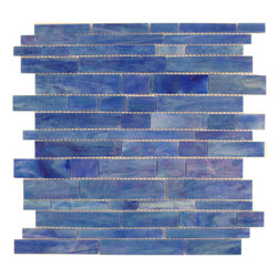"Glass Tile Oasis - Sapphire Random Bricks Blue Brick Victorian Glossy & Iridescent Glass - Sheet size:  11 5/8"" x 11 3/4""        Tile Size:  Random Bricks        Tiles per sheet:  59        Tile thickness:  1/8""        Grout Joints:  1/8""        Sheet Mount:  Mesh Backed        NOTE: Iridescent colors not recommended for water line applications in pools/spas    Sold by the sheet     -  Bring bold  dazzling style to any space with Victorian  a collection made from vibrant stained glass. This series stands out for its beautiful patterns and meticulous attention to detail. They are suitable for variety of interior and outdoor spaces."