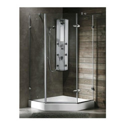 Vigo Industries - Shower Enclosure and Base Set (36.13 in. L x 36.13 in. W x 76.75 in. H) - Both dramatic and space-saving, the VIGO frameless neo-angle shower enclosure with low-profile base creates a beautiful focal point for your bathroom. Shower enclosure installation makes an excellent home improvement project. Clear PVC side gasket installs vertically onto door to ensure a water-tight seal between door and side panel when the door is in the closed position. Durable cross-linked cast acrylic shell is extremely scratch and stain resistant, yet renewable because the color goes all the way through the material. On-porous surface makes cleaning and sanitizing faster and more effective. Multi-layered backing of thick fiberglass, resin encloses wood reinforcement to prevent flexing of floor pan at least 30% thicker and stronger than other makes.
