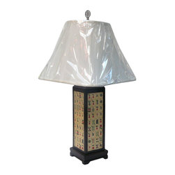 Golden Lotus - Chinese Wood Mahjang Tile Accent Table Lamp - This is an oriental table lamp with Chinese Bamboo Mahjang tile accent base.