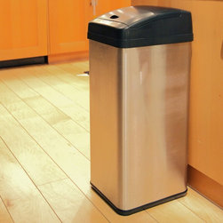 """iTouchless - iTouchless IT13MX Trashcan MX Stainless Steel 13 gal. Trash Can Multicolor - IT1 - Shop for Trash Receptacles from Hayneedle.com! Stay clean and germ-free with the iTouchless IT13MX Trashcan MX Stainless Steel 13 Gallon Trash Can. This 100% touch-free trash can opens the lid when it detects movement within 6 inches and it has the capacity to hold larger items like a full-size pizza box. The Advanced Seal technology features sealed-away lid hinges for better performance and easier cleaning as well as longer-lasting and quieter lid operation. The rectangular 13-gallon MX trash can is constructed from durable stainless steel with a brushed silver finish. Its removable top cover allows for easy cleaning. It also helps prevent contamination which reduces the threat of certain illnesses and infections. The water-resistant sensor guard prevents liquid and stain damage. Even better your kids will have the enjoyment of throwing the trash away into the """"magically"""" opening container. Other features include a dust-resistant lid air-escape holes at the base for trash bag removal and a carrying handle for easy lifting. Uses 4 D-size batteries (not included) with an optional AC power adapter. Dimensions: 13L x 10.5W x 28.25H inches.About iTouchlessiTouchless Housewares & Products creator of the Touchless Trashcan EZ Faucet and Towel-Matic manufactures and distributes a line of innovative products for your home and office. Their mission: to make people's lives a little easier by using their products. Over the last 15 years iTouchless has established a solid foundation and assembled multiple factories in Asia to support the increasing demand of sensor-activated products. Their vision for the future is to create a continuous stream of customer-driven innovations while selecting strategic partners and distributors to form mutually beneficial relationships."""