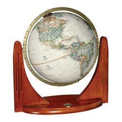 National Geographic - Compass Star - National Geographic World Globe - The Compass Star features a stylish modern winged design base combined with elegant parchment colored globe cartography.