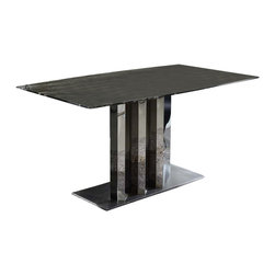 Zuri Furniture - Nero Dining Table with Marble Top - Black - The 71-inch Nero Modern Dining Room Table is the epitome of elegance. The exquisite marble atop the polished stainless steel base will effortlessly become an eye catching focal point to your dining room. This Contemporary Dining Table proves that form and functionality can co-exist in harmony.