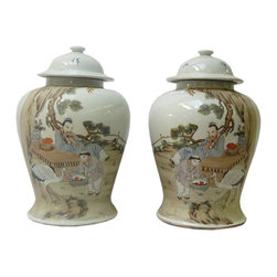 Golden Lotus - Pair Oriental Chinese Scholar Kid Crane Porcalin Temple Jars - This is a pair traditional Chinese decoration temple jars white base with colorful graphic of scholar with kid and crane scenery.