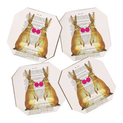 Coco de Paris Rabbits With Bubblegum 1 4 Coasters - Say goodbye to water rings on your furniture and hello to the stylish solution: DENY Designs' Coaster Set. Available in a set of four, you can also opt for the coaster tray to house the set or go the a la carte route. Either way, your glasses are going to get a fun drinking companion!