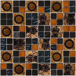 What's New - Harvest moon 6 different glass tiles in shades of brown, gold and black are combined to form this custom mosaic blend we will make by hand for you in our studios in upstate New York. This mosaic features dichroic, mirrored, iridescent, recycled, frosted and other tiles.