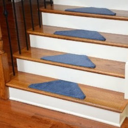 """Dean Flooring Company - Washable Non-Skid Carpet Stair Treads - Solid Blue Hexagon (13) - Washable Non-Skid Carpet Stair Treads - Solid Blue Hexagon (13) : Washable non-skid carpet stair treads by Dean Flooring Company. Helps reduce slips on your hardwood stairs. Great for helping your dog easily navigate your slippery staircase. Nylon pile with a machine washable non-skid latex backing (wash on delicate in cold water, line dry). Also easy to spot clean or vacuum. Reduces noise. Reduces wear and tear on your hardwood stairs. Each set contains 13 pieces. Each tread is approximately 22.5"""" x 10"""". Easy DIY installation with double-sided carpet tape (not included). Adds an attractive fresh new look to your staircase."""