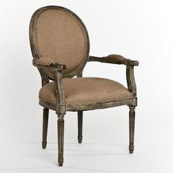 Zentique - Zentique Medallion Armchair in Limed Charcoal Oak and Copper Linen - Medallion armchair in limed charcoal oak and copper linen by Zentique.Fabric Color: Copper LinenFrame: Limed Charcoal OakFabric: 100% LinenFilling: Foam