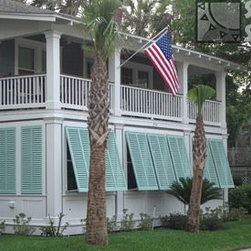 Bahamas Shutters - These Bahamas shutters have the Closed Louver Style (louvers are at a 17 degree angle) providing privacy.