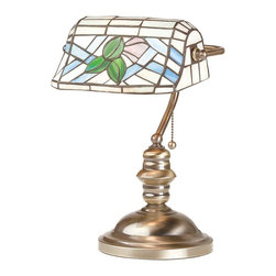 "Renovators Supply - Table Lamps Antique Brass Tiffany Style 14 H 9 1/2 W 7"" base - Table Lamp, Banker's Lamp. This is Art Nouveau floral is styled after the great Tiffany lamps. This table lamp measures 14 inches high x 9 1/2 inches wide with a 7 inch solid brass base with felt bottom. Takes a 60 watt, B style bulb, not included."