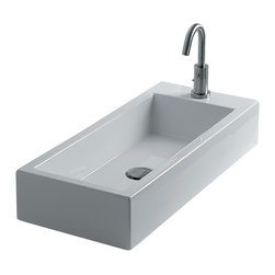 """WS Bath Collections - Hox Vessel Bathroom Sinks, Large 70l - Hox Large 70L, 27.6"""" x 11.8"""" x 5.1"""", Vessel Bathroom Sink in Ceramic White"""