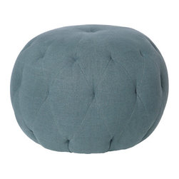 Pouf 26 in Round Ottoman - Whenever looking for extra seating in a pinch, a large pouf that could double as a coffee table, ottoman or seat is always handy. The tufted upholstery gives it a look like my mother's pin cushion.