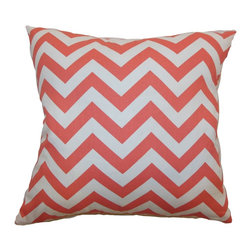 "The Pillow Collection - Xayabury Zigzag Pillow Coral White 18"" x 18"" - Bring a fun look to your room with this eccentric and bold zigzag throw pillow. This accent pillow comes with a graphic print pattern in a coral and white color palette. This decor pillow adds depth and definition to your space. Layer this square pillow with other patterns and colors. This 18"" pillow is made from 100% soft cotton fabric. Hidden zipper closure for easy cover removal.  Knife edge finish on all four sides.  Reversible pillow with the same fabric on the back side.  Spot cleaning suggested."