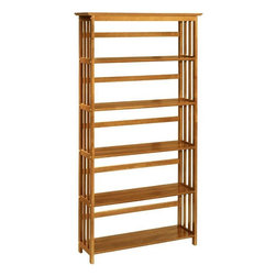 "Home Decorators Collection - Mission-Style 38""W 5-Shelf Bookshelf - Our wooden bookshelves have become favorites of decorators who seek sturdy, attractive decor in the classic Mission style. This gracefully simple design offers visual charm along with function and durability. Choose a Mission-style bookcase with three, four, five or six tiers according to your needs. Hardwood and hardwood veneer construction with a satin-smooth hand finish complete a bookcase with distinctive style.  Bring clean lines and graceful proportions to your home with our Mission-style bookcase. In your choice of finishes, it's easy to match with any decor. Our wooden bookshelves will serve you handsomely for years, with a look that never goes out of style."