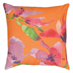 Pair of `Orange Blooming` Floral Watercolor Print Indoor / Outdoor Throw Pillows - This pair of 18 inch by 18 inch woven throw pillows adds a wonderful accent to your home or patio. The pillows have ClimaWeave weatherproof exteriors, that resist both moisture and fading. The front and back of the pillows have the same print, a watercolor depiction of lovely red and pink orchids against a bright orange background. They have 100% polyester stuffing. These pillows are crafted with pride in the Blue Ridge Mountains of North Carolina, and add a quality accent to your home. Original artwork by Martha Collins. They make great gifts for flower lovers.