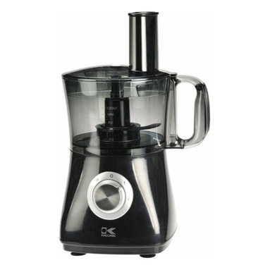 Kalorik - Black Food Processor - 8 Cup, by Kalorik - The Kalorik Food Processors relies on robust 500W motor to chop, slice, shred, mix and puree just about anything you put in the bowl. Fast and easy to use, this versatile food processor incorporate 7 attachments including stainless steel grader, slicer, chopper and shredder discs; emulsifier/egg beater, dough maker and citrus juice - In-bowl blade storage and dishwasher-safe parts make these food processor easy to clean and store, lets get cooking!