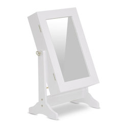 Wholesale Interiors - White Wessex Tabletop Mirror - Everything the Wessex floor mirror is, just in a smaller package. The same bold white finish and metallic hardware. The same attention to economical use of space. The mirror tilts, too. Store your earrings, rings, necklaces and bracelets. Open or closed, this Tabletop mirror looks tops!