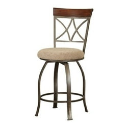 "PWL697-726 - Hamilton Swivel Counter Height Bar Stool With Padded Seat And Wood Back - Hamilton swivel counter height bar stool with padded seat and wood back. The Hamilton Swivel Bar stool features a diamond shaped back and slight curved legs. The top of the back piece is a sleek ""Brushed faux Medium cherry"" wood, while the frame is a ""Matte Pewter and Bronze"" metal. This piece is sure to add interest and extra seating to your table. Perfect complement to the Hamilton Pub Table. Measures 17"" x 19"" x 41-3/4"" tall, Seat Height: 24"". Some assembly required."
