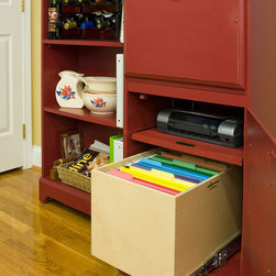 Office Organization - Keep your office organized with the ShelfGenie line of Glide-Outs. File folders are always within reach, and always in their place. Hi! I'm Elizabeth Beach Hacking of ShelfGenie MA (S. Shore, N. Shore, Metro West & Cape Cod). Call me at: 646-944-8599 to find out how we can retrofit your office with space saving Glide-Outs.  Receive $100 off your custom order,  just by mentioning Houzz.
