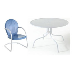 Crosley Furniture - Crosley Furniture Griffith Metal 40 Inch 5 Piece Outdoor Dining Set w/ Sky Blue - Relax outside for hours on our nostalgically inspired Griffith metal outdoor furniture. Kick back while you reminisce in this outdoor dining set, designed to withstand the hottest of summer days and other harsh conditions. The furniture set's non-toxic, powder-coated finish is available in various colors to complement your outdoor accessories.