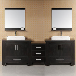 Design Element - Design Element Washington Modular Double-Sink Bathroom Vanity Set - This contemporary style double-sink bathroom vanity set features abundant storage with two cabinets and five storage drawers. The beautiful piece is finished in black and comes complete with matching framed mirrors.
