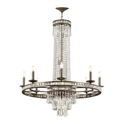 Crystorama - Crystorama 5268-EB-CL-MWP Mercer Chandelier - Our Mercer collection has all the angles covered. It is stunning no matter how you look at it. The metal work is as beautiful as the waterfall of crystal beads and faceted jewels that adorn it. From below, the metal forms a floral design, like something you might see in a stained glass window.