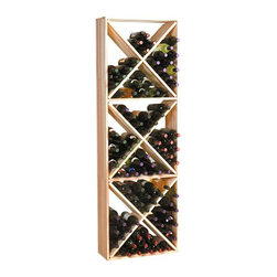 Wine Cellar Innovation - Traditional Series 132-Bottle Solid Diamond Cubes Wine Rack Multicolor - TR-UN-S - Shop for Wine Bottle Holders and Racks from Hayneedle.com! The Traditional Series 132-Bottle Solid Diamond Cubes Rack is popular attractive and sturdy. This wine rack is made of Redwood which is naturally resistant to humidity decay and mildew. The natural variations of Premium Redwood stands out with an attractive variety of colors from white to pink to dark purple swirled and streaked together. This rack has individual storage compartments with partial bottle depth (8.75 inches) for easy access. This storage rack is 1 column wide by 3 cubes high. Each cube is comprised of 4 quadrants holding 10 bottles each. With room for a case on top this rack has a total bottle capacity of 132. Assembly instructions assembly hardware and wall mounting hardware are all included with this wine rack. Crown and Base Molding Trim Kit is available for this product. About Wine Cellar InnovationsWine Cellar Innovations is the world's foremost designer and manufacturer of custom wine cellars and wine racks. Founded more than 20 years ago Wine Cellar Innovations continues to offer creative and functional wine storage solutions while expanding new horizons in refrigeration 3D color design and 3D virtual reality walk-throughs. Wine Cellar Innovations is located in Cincinnati Ohio.