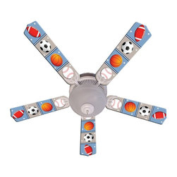 Ceiling Fan Designers - Ceiling Fan Designers Kids Play Ball Indoor Ceiling Fan - 42FAN-IMA-PB - Shop for Ceiling Fans and Components from Hayneedle.com! The Ceiling Fan Designers Kids Play Ball Indoor Ceiling Fan is just right for your sporty kid. A colorful ceiling fan this one is decorated with footballs soccer balls baseballs and basketballs. It's a ceiling fan and light kit combo that comes in your choice of size: 42-inch with 4 blades or 52-inch with 5. The blades are reversible so if they ever tire of the sport theme simply flip to classic white blades. It has a powerful yet quiet 120-volt 3-speed motor with easy switch for year-round comfort. The 42-inch fan includes a schoolhouse-style white glass shade and requires one 60-watt candelabra bulb (not included). The 52-inch fan has three alabaster glass shades and requires three 60-watt candelabra bulbs (included). Your ceiling fan includes a 15- to 30-year manufacturer's warranty (based on size).