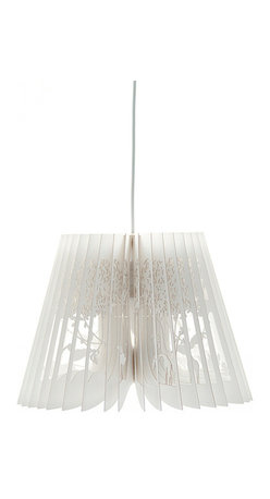 EcoFirstArt - 360 Light, Deep Jungle, White - This pendant lamp brings new meaning to the term book light. The shade is crafted of ivory paper with intricate laser cut trees and woodland animals like something from a fairytale. They're arranged in open book-like pleats around a thermoplastic PET core for a truly enlightening story.
