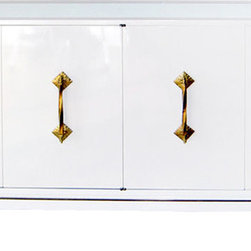Glamourous 1960s White Lacquer, Brass, and Mirror Cabinet - I recently found a similar midcentury modern credenza with amazing hardware at an estate sale, and it's pure perfection.