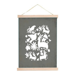 Kindred Sol Collective - Grey Otomi Canvas, 24x18 - Gracefully serene and zen, nature -themed canvas tapestry.  Arrives ready to be displayed in your home as a rolled canvas on a beautiful wooden hanger.