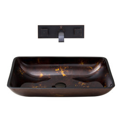VIGO Industries - VIGO Rectangular Glass Vessel Sink and Wall Mount Faucet Sink - The VIGO Rectangular Brown and Gold Fusion glass sink set with Antique Rubbed Bronze wall mount faucet will serve dual purposes in your bathroom; as a luxurious bathroom sink set, and an eye-catching work of art.