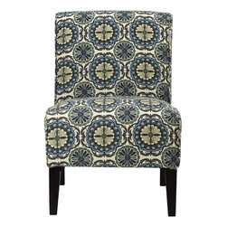 Home Decorators Collection - Audrey Slipper Chair, Woven Echo Peacock - This one's mighty sweet with the blue, white and gray theme going on. I love its traditional shape and the busy pattern.