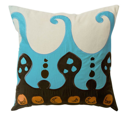 """KOKO - Coptic Pillow, Blue, 22"""" x 22"""" - This pillow seems so exotic with its Egyptian symbols and beautifully embroidered wave pattern. The pop of the bright blue against the brown and orange makes for a fun, eclectic design that could easily pair with complementary colors and patterns."""