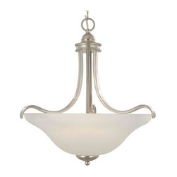 Sanibel Large Pendant - This pendant features elegant accents that frame the frosted glass shade giving it a sophisticated touch.