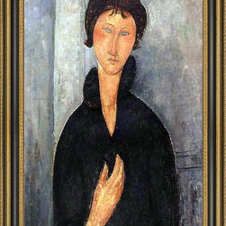 """Art MegaMart - Amedeo Modigliani Woman with Blue Eyes - 16"""" x 24"""" Framed Premium Canvas Print - 16"""" x 24"""" Amedeo Modigliani Woman with Blue Eyes framed premium canvas print reproduced to meet museum quality standards. Our Museum quality canvas prints are produced using high-precision print technology for a more accurate reproduction printed on high quality canvas with fade-resistant, archival inks. Our progressive business model allows us to offer works of art to you at the best wholesale pricing, significantly less than art gallery prices, affordable to all. This artwork is hand stretched onto wooden stretcher bars, then mounted into our 3 3/4"""" wide gold finish frame with black panel by one of our expert framers. Our framed canvas print comes with hardware, ready to hang on your wall.  We present a comprehensive collection of exceptional canvas art reproductions by Amedeo Modigliani."""