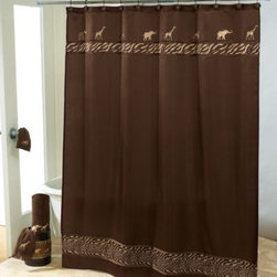 """Avanti - Avanti Animal Parade 72-Inch x 72-Inch Shower Curtain - This Avanti Animal Parade Shower Curtain features golden embroidered """"safari"""" animals across the top and is accented with coordinating cheetach print on the top and bottom."""