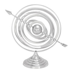 Benzara - Aluminum Armillary 20in.W, 17in.H Nautical Maritime Decor - Size: 20 wide x 17 high x 7 depth (inches)