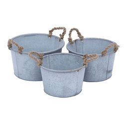 Benzara - Metal Planter in Antique Finish - Set of 3 - Elegant and stylish, these this set of 3 planters adds a touch of nature to your indoor settings with this home decor piece which has a rich-looking antique finish. These set of 3 traditional circular planters come in three different sizes and can be used in or around the home or garden area. This set of 3 traditional circular planters come in two different sizes and can be used in or around the home or garden area. These metal planters sports two jute handles for easy carrying. Get ready to earn loads of compliments for your refined taste in garden accessories from your family and friends. This decor piece exudes simplicity and grace while the superior metal construction makes it durable and sturdy.