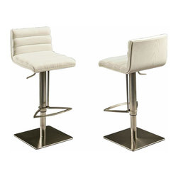 Pastel Furniture - Pastel Dubai Hydraulic Barstool - Stainless Steel with White Back - PU Ivory - This beautifully made contemporary hydraulic Stainless steel barstool has a simple yet elegant design that is perfect for any decor. An ideal way to add a touch of modern flair to any dining or entertaining area in your home. This barstool features a veneer wood back that comes in either black, white or walnut. It also has a quality Stainless steel frame with sturdy legs and foot rest finished. The padded seat is upholstered in either PU ivory or PU black offering comfort and style.