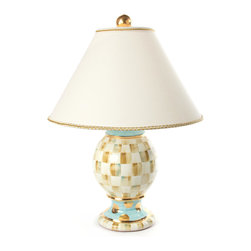 Parchment Check Globe Lamp | MacKenzie-Childs - The classic table lamp as only MacKenzie-Childs could envision it. Hand-painted terra cotta clay body. Four firings and gold lustre give this lamp an unmistakable, elegant appeal. Fabric-covered hard shade with gold braided trim.