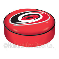 "Holland Bar Stool - Holland Bar Stool BSCCarHur Carolina Hurricanes Seat Cover - BSCCarHur Carolina Hurricanes Seat Cover belongs to NHL Collection by Holland Bar Stool This Carolina Hurricanes bar stool cushion cover is hand-made in the USA by Covers by HBS; using the finest commercial grade vinyl and utilizing a step-by-step screen print process to give you the most detailed logo possible. This cover slips over your existing cushion, held in place by an elastic band. The vinyl cover will fit 14"" diameter x 4"" thick seats. This product is Officially Licensed. Make those old stools new again while supporting your team with the help of Covers by HBS! Seat Cover (1)"